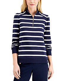 Cotton Striped Zip-Neck Top, Created for Macy's