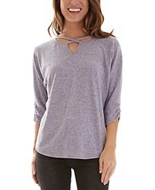 Juniors' Strappy 3/4-Sleeve Top