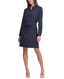 Twill Roll-Tab Shirtdress