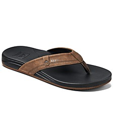 Men's Cushion Spring Faux-Leather Flip Flops