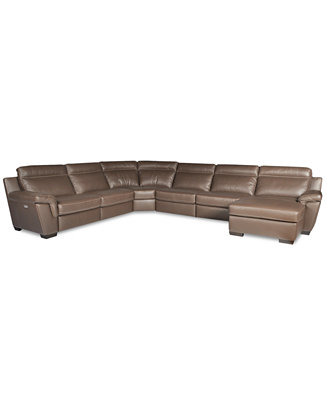 Julius 6 piece leather power motion chaise sectional sofa for Armless sectional sofa chaise