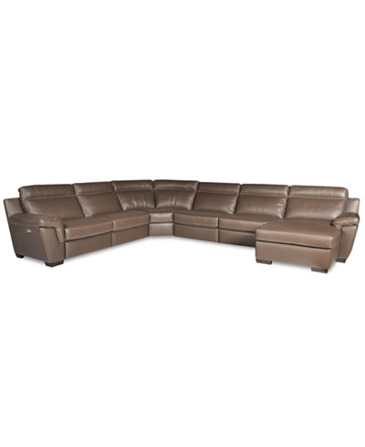 Julius 6 piece leather sectional with chaise 2 power for 2 piece sectional with chaise lounge