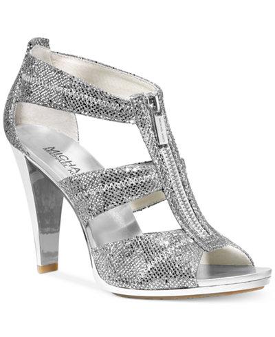 New Arrivals Womens Casual Shoes - Michael Kors Berkley T Strap Silver Glitter