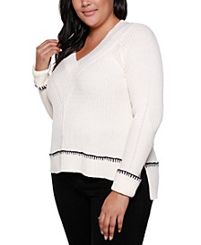 Black Label Plus Size Crossover V-Neck Sweater With Cuffed Sleeves