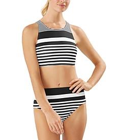 Breaker Bay Lace Up-Back Bikini Top & High-Waist Bikini Bottoms