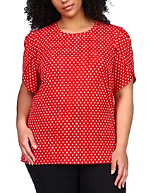 Plus Size Polka-Dot Petal-Sleeve Top