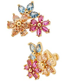 Gold-Tone Multicolor Cubic Zirconia Flower Cluster Stud Earrings