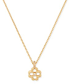 "Gold-Tone Cubic Zirconia Flower Mini Pendant Necklace, 16"" + 3"" extender"