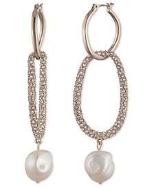 Gold-Tone Crystal & Imitation Pearl Hoop Drop Earrings