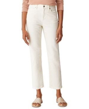 Eileen Fisher ORGANIC HIGH-WAISTED STRAIGHT-LEG ANKLE JEANS