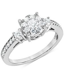 Diamond Halo Ring (5/8 ct. t.w.) in 10k White Gold