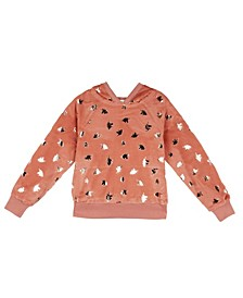 Big Girls Long Sleeve Foil Print Faux Fur Banded Hoodie Top