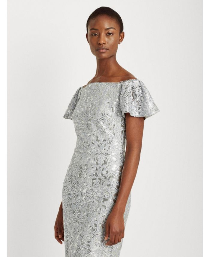 Lauren Ralph Lauren Sequined Lace Off-the-Shoulder Dress & Reviews - Dresses - Women - Macy's