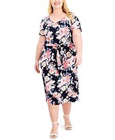 Plus Size Floral-Print Tie-Waist Sheath Dress