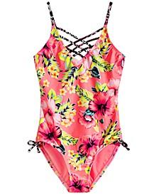 Big Girls 1-Pc. Twin Print Strappy Swim Suit