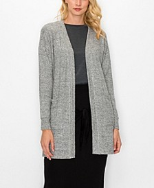 Women's Cozy Front Pocket Side Slit Cardigan