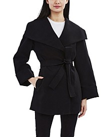 Belted Crepe Wrap Coat