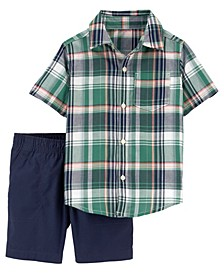 Toddler Boys 2 Piece Plaid Button-Front Shirt Short Set