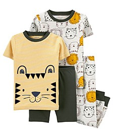 Toddler Boys 4 Piece Lion Snug Fit Pajama Set
