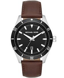 Men's Layton Three-Hand Brown Leather Strap Watch 44mm