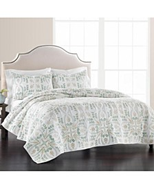 Embroidered Tile 100% Cotton Twin Quilt, Created for Macy's