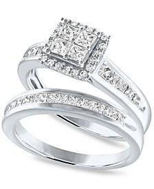 Diamond Princess Quad Halo Bridal Set (1 ct. t.w.) in 14k White Gold