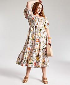 INC Plus Size Printed Puff-Sleeve Midi Dress, Created for Macy's