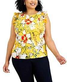 Plus Size Floral-Print Flutter-Sleeve Top, Created for Macy's