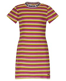 Big Girls Metallic Rib Knit Stripe Short Sleeve Dress