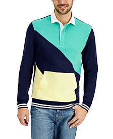 Men's Regular-Fit Colorblocked Rugby Sweatshirt, Created for Macy's