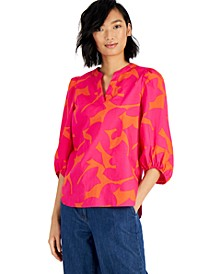 Cotton Printed Balloon-Sleeve Blouse, Created For Macy's