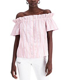 INC Metallic-Stripe Off-The-Shoulder Top, Created for Macy's
