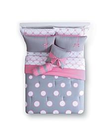 Sophie Polka Dot Bed in a Bag 10 Piece Comforter Set, Twin