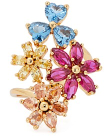 Gold-Tone Multicolor Cubic Zirconia Flower Cluster Statement Ring