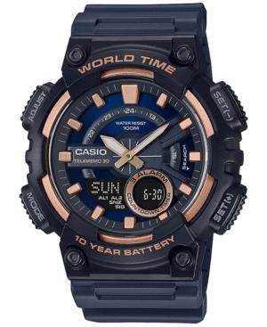 Men's Solar Analog-Digital Black Resin Strap Watch 46.6mm