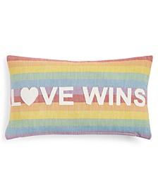 """Love Wins Cotton Rainbow Stripe Appliqué 14"""" x 24"""" Decorative Pillow"""