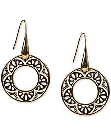 Gold-Tone Openwork Flower Circle Drop Earrings