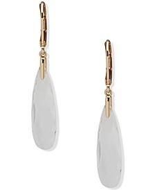 Gold-Tone Long Stone Drop Earrings