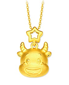 Year of the Ox Charm Pendant in 24k Gold