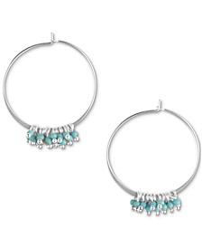 Silver-Tone Stone Shaky Bead Charm Hoop Earrings