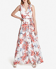 Crossover-Neck Floral Maxi Dress