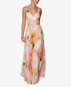 Laundry By Shelli Segal LAUNDRY BY SHELLI SEGAL MARBLE CHIFFON PLEATED GOWN