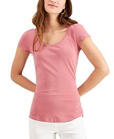 Juniors' Scoop-Neck Cap-Sleeve T-Shirt