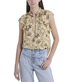 Women's Sleeveless Ruffle Front Floral Printed Mock Neck Blouse