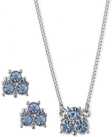 "2-Pc. Set Crystal Earrings & Pendant Necklace, 16"" + 3"" extender"