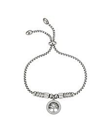 Fine Silver Plated Crystal Family Tree Adjustable Bolo Bracelet