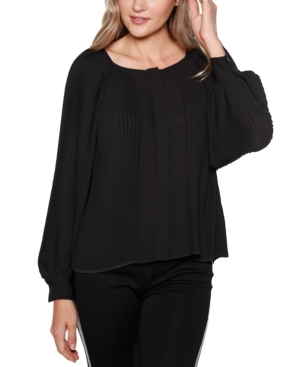 Black Label Button Front Pleated Blouson Sleeves Top