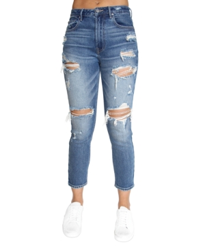 Juniors' Ripped High-Rise Mom Jeans