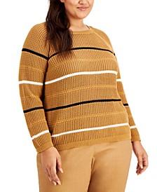 Plus Size Cotton Striped Sweater