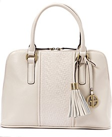 Pebble Leather Weave Dome Satchel, Created for Macy's